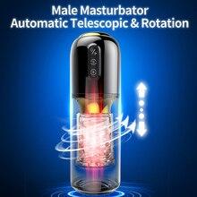 Atualizado 10*10 modos de rotação telescópica masturbador masculino silicone masturbação real vagina masturbador brinquedos sexuais para o homem adulto