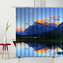 Beautiful Scenery Shower Curtain Mountain Water Forest Nature Landscape Polyester Home Bathroom Deco