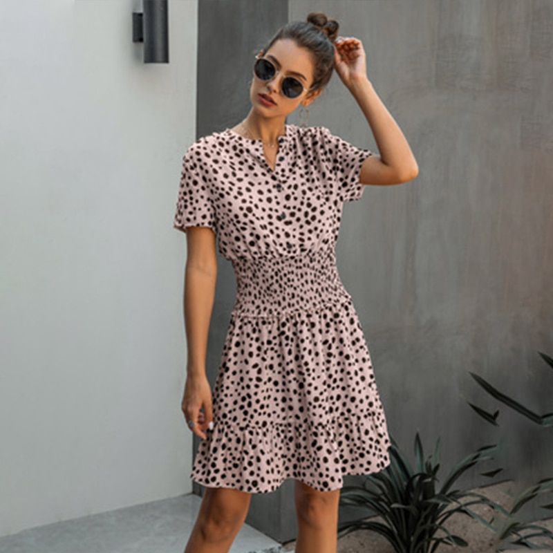 Sexy Leopard Print Ruffled Mini Dress Women Elastic High Waist Buttons A-line Female Dresses Summer Fashion Casual Lady Vestidos
