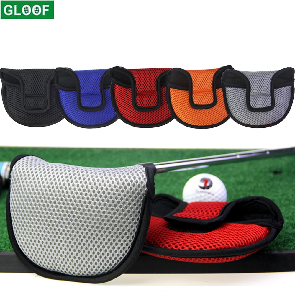 1Pcs Golf Mesh Lightweight Putter Cover Mallet Putter Headcover Club Protector with Magic Tape