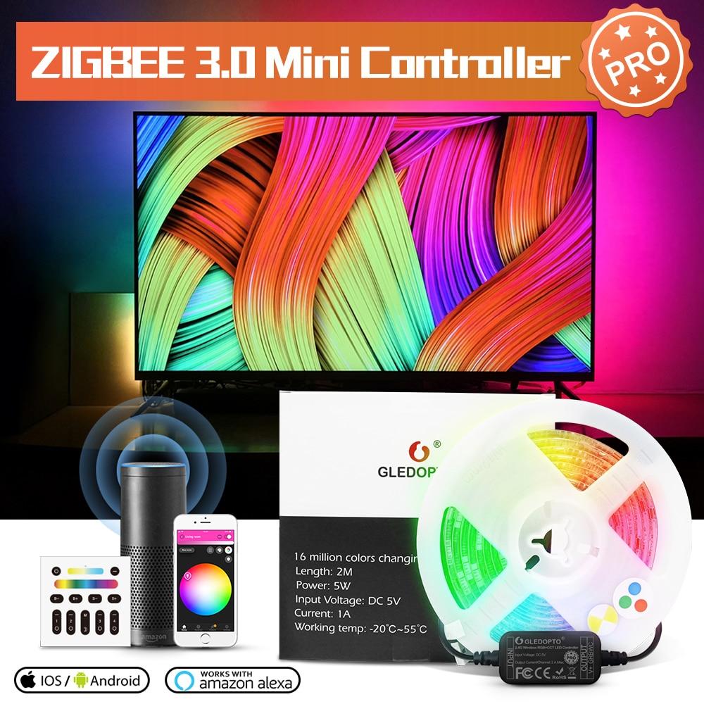 Gledopto-شريط إضاءة LED صغير Zigbee 3.0 ، USB 5V ، RGBCCT ، تلفزيون ، مصباح خلفي ، يعمل مع Echo Plus ، SmartThings ، تطبيق Tuya الصوتي عن بعد