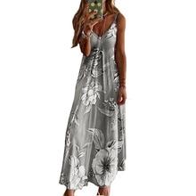 Vestido de tirantes finos sin mangas azul Rosa estampado de flores túnica de verano informal Boho playa vestidos largos de mujer de talla grande 5XL