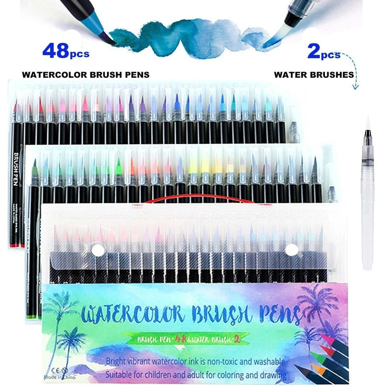 48 Colors Watercolor Brush Pens Art Marker Pens for Drawing Coloring Books Manga Calligraphy School Supplies Stationery Simple