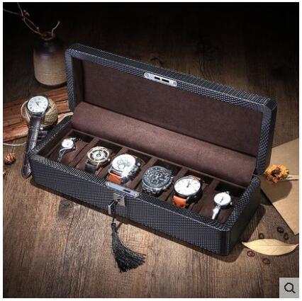 De moda 6-Ranura de madera estructura de caja de cuero para relojes reloj estuches para relojes organizador reloj caja de regalo de SBH014