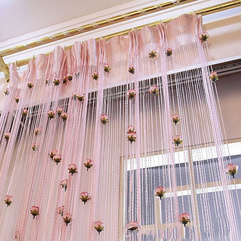 Cortina de filamentos roscada de poliéster cortina de hilo Rosa cortina de sala de estar cortina hilo accesorios decorativos
