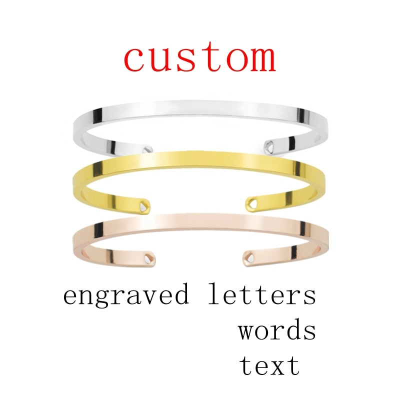 Silver Gold Rose Gold Cuff Bracelet Custom Engraved Words Letters Text Adjustable Open Cuff Bangle dreams come true letters engraved bangle be yourself metal lettering fashion hope faith cuff bracelet women best gifts
