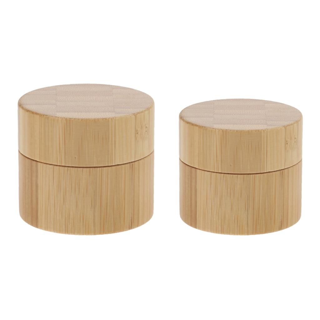 2 Pieces 30g 50g Premium Bamboo Wood Plastic Cream Empty Lip Balm Tin Pot Boxes Storage Cases with Screw Lids