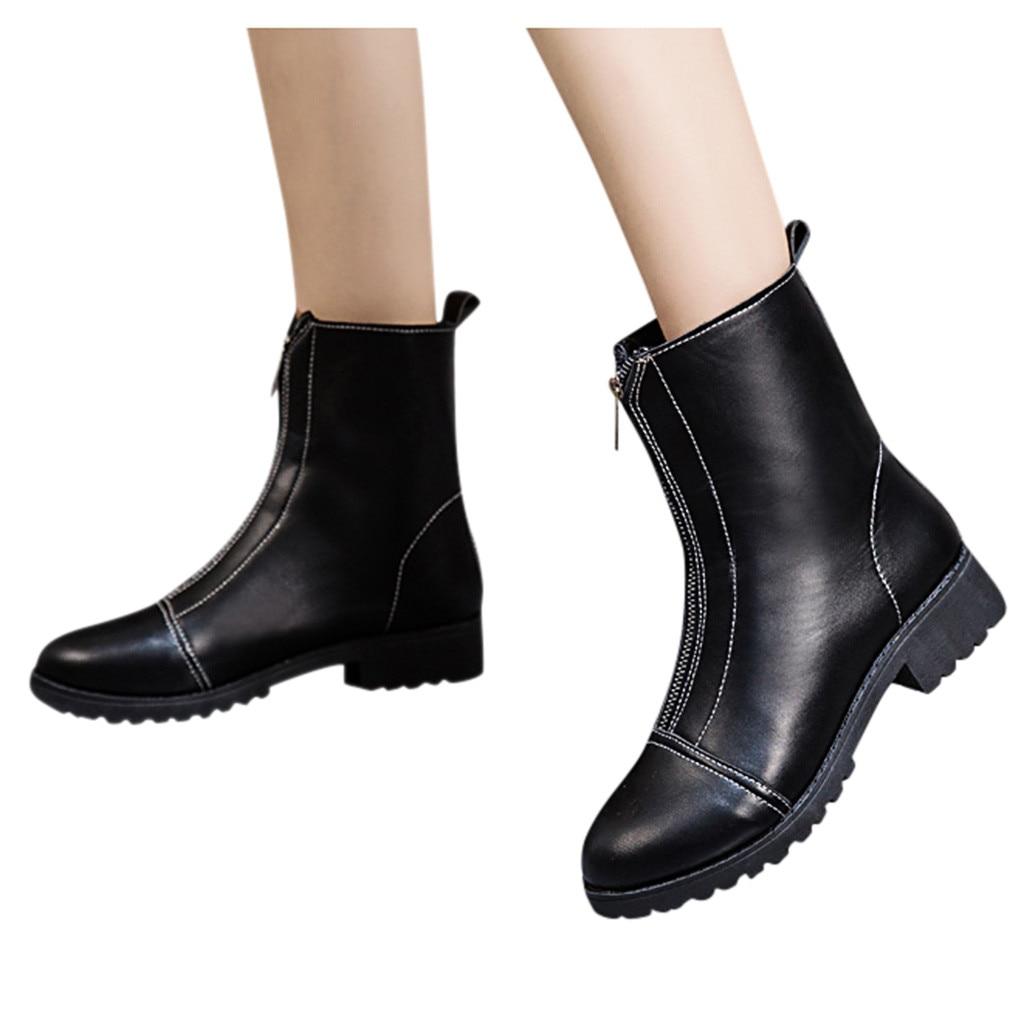 Botas de nieve a prueba de agua zapatos de tobillo de cuero de mujer Martin botines moda Soldi negro motocicleta gótico zapatos plataforma pie