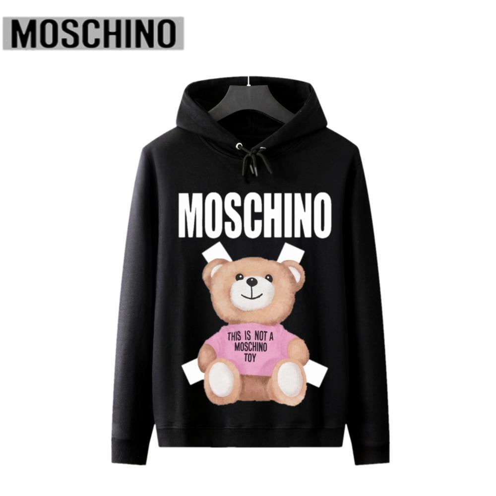 2020 Autumn Casual Moschino Sweatshirts Cartoon Bear Print Cotton Hoodies Pullovers With Brand Label