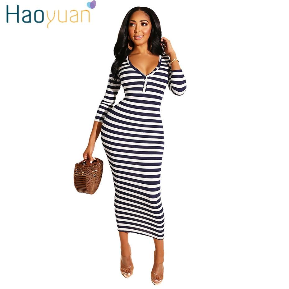 HAOYUAN Casual Striped Midi Dress Deep-v Button Sexy Women Festival Clothing Vestidos Streetwear Fall 2019 Office Ladies Dresses