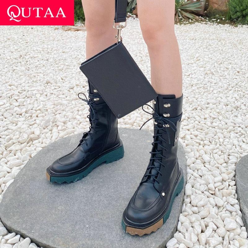 QUTAA 2022 الشتاء منتصف العجل الأحذية مشبك سستة الموضة السيدات مختلط اللون جولة تو ساحة ميد كعب النساء أحذية حجم 34-39