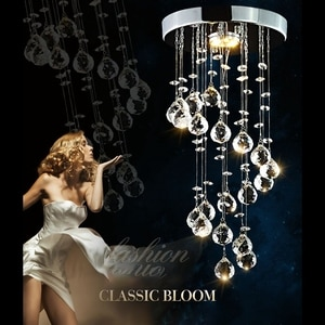 Modern Spiral Crystal Chandelier for Home Entrance Staircase Aisle Corridor Ceiling Hanging Lamp Home Decor -White Light