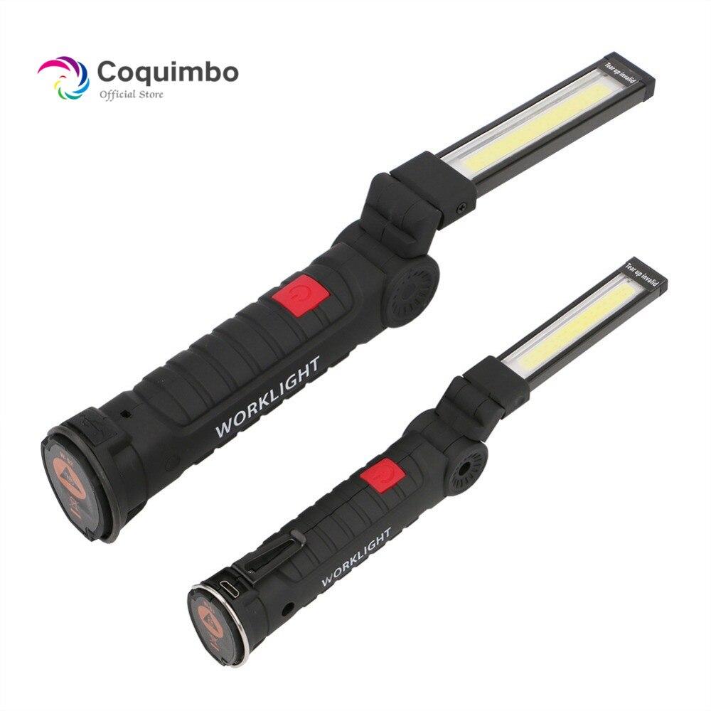 1 * lámpara LED COB luz LED con batería integrada recargable por USB con imán linterna portátil linterna de trabajo para acampar al aire libre