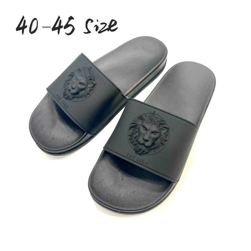 Lion Head Black Casual Slippers Men Fashion Outdoor Anti-slip Beach Flip Flops PVC Male Soft Flat Shoes Indoor Shower Slipper