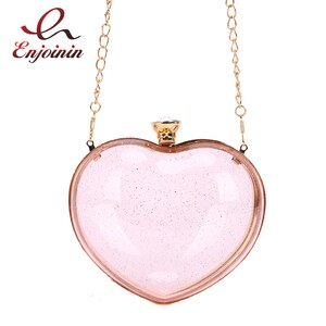 Transparent Heart Shaped Style Acrylic Ladies Party Clutch Sequin Fashion Women Purses and Handbags Cute Chain Shoulder Bag 2021