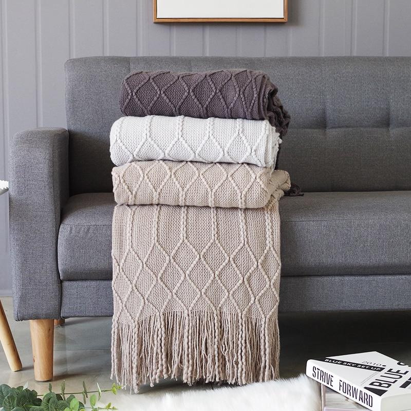 بلون البلايد رمي بطانية ل غطاء أريكة منشفة محبوك قيلولة بطانية مع شرابات سماط نسيج المنزل السرير الديكور