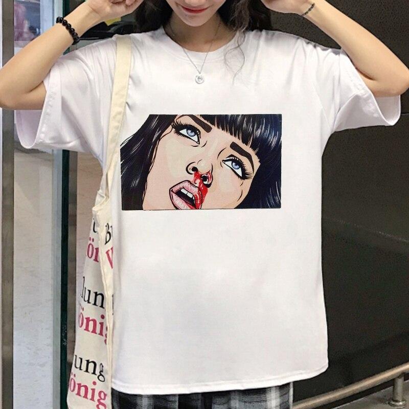 Zogankin verão camiseta feminina casual harajuku lágrimas choro controle halsey pop arte tv série de manga curta tshirt