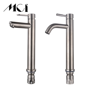 Mci bathroom hot and cold water faucet 304 stainless steel kitchen basin faucet countertop installation classic mixing faucet