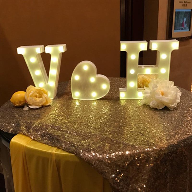 Luminous LED Letter Number Night Light Creative 26 English Alphabet Battery Lamp Romantic Wedding Birthday Christmas Party Decor