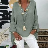 women casual long sleeve cotton and linen loose blouse spring v neck print irregular shirt vintage oversized tops oversized