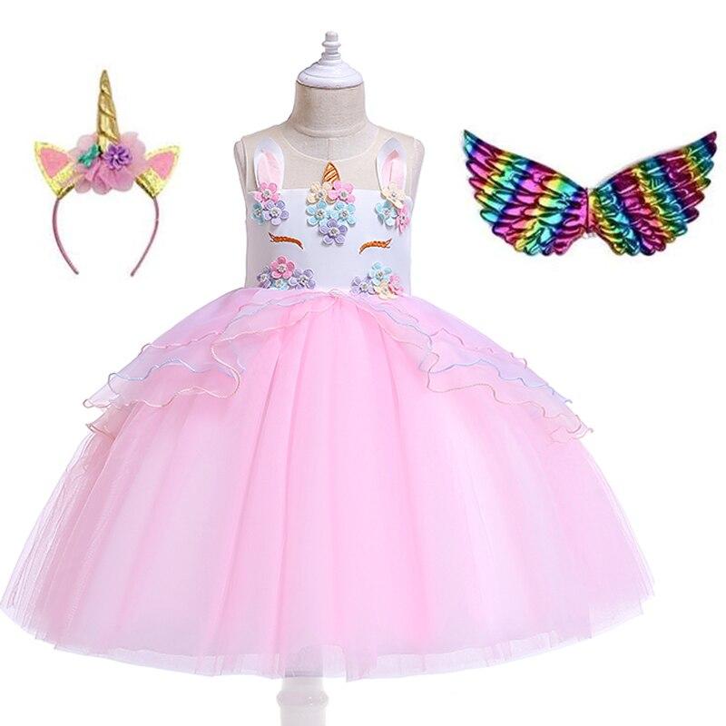 2020 New Unicorn Girl Winter Dress For Baby Girls Clothing Kids Wedding Birthday Party Princess Costume Children Pageant Dresses