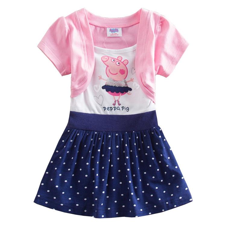 Faldas de verano de princesa Peppa Pig Original, Vestido de manga corta, estampado de felpa de algodón para niñas, vestido de encaje de dibujos animados, falda linterna, Juguetes