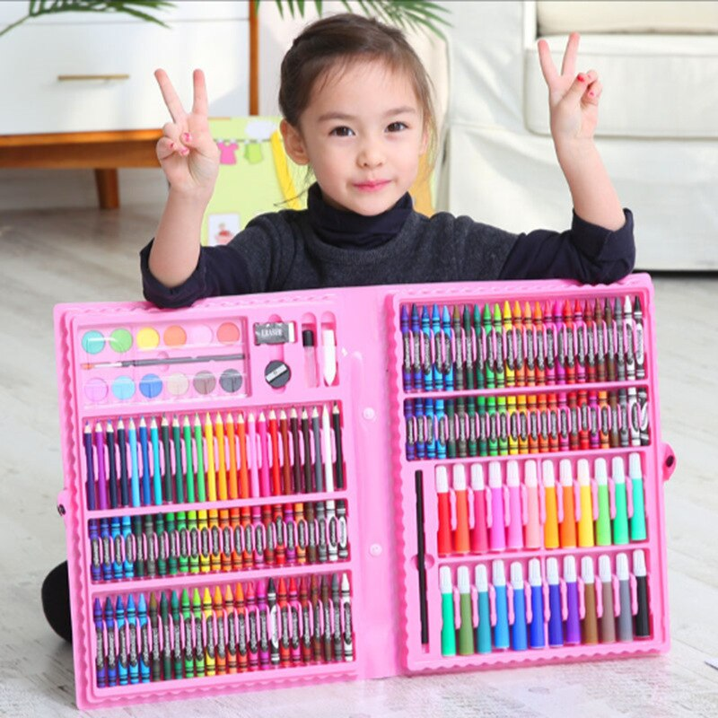 Набор из 86 предметов, Детские кисти, моющиеся художественные инструменты, акварельные мелки, оптовая продажа художественных акварельных ру...