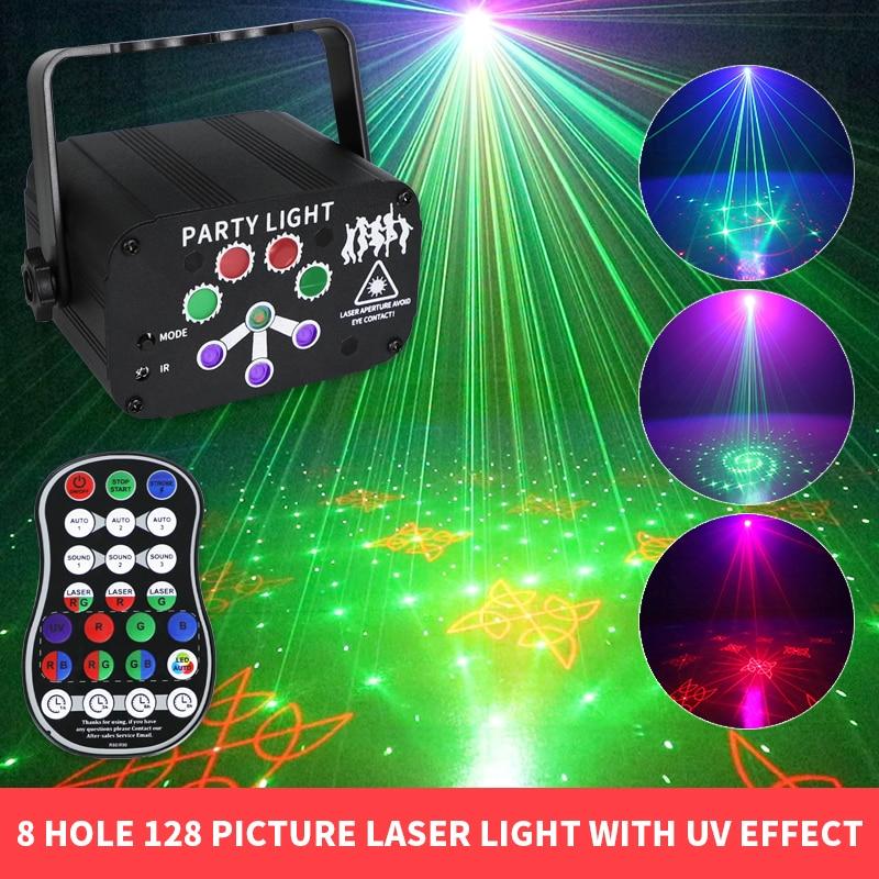 8 отверстий 128 вышивка крестом картины светодиодный лазерный проект светильник Красочные УФ эффект DJ светильник s USB аккумуляторная вспышка ...