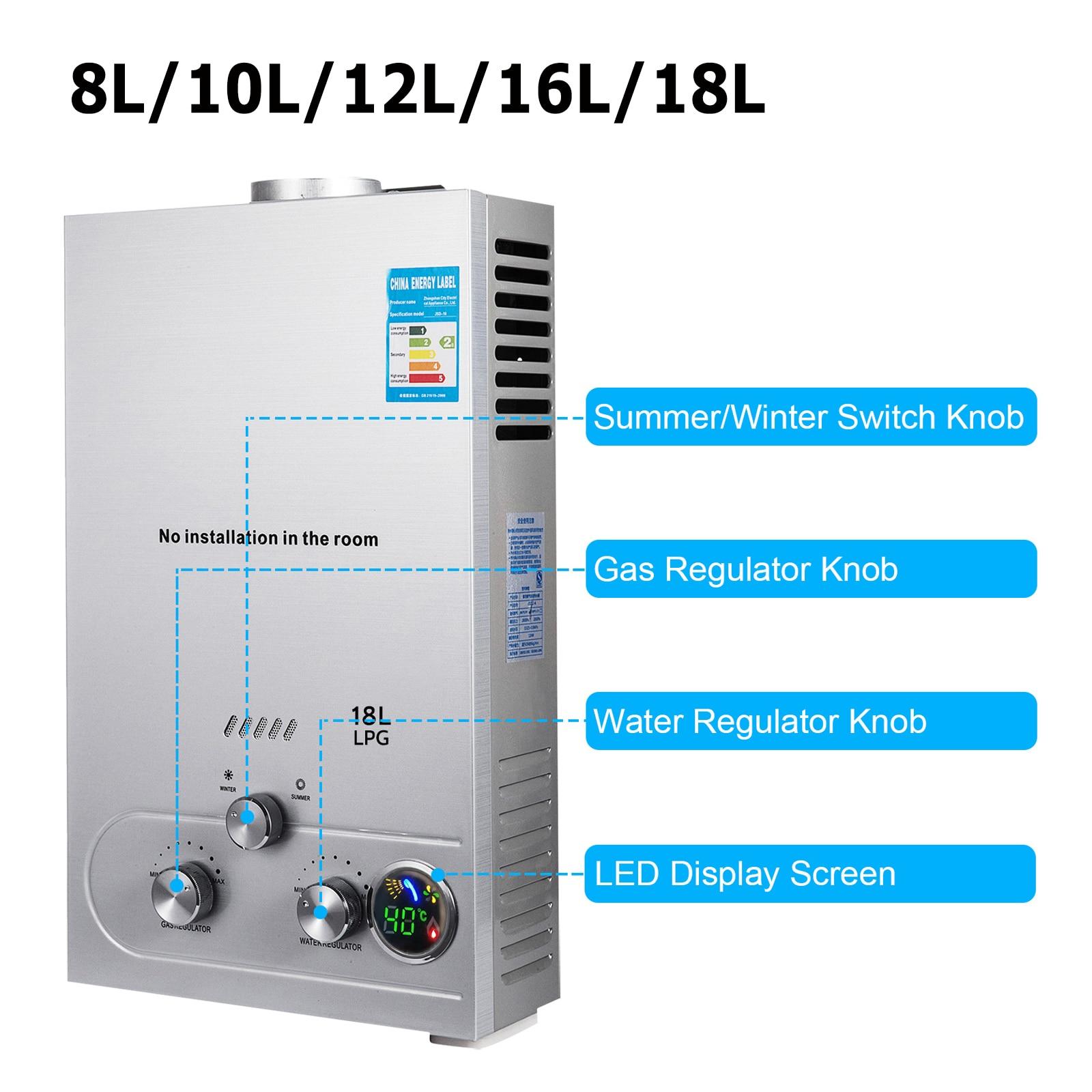 LPG Water Heater 6L/8L/10L/12L/16L/18L 36KW Instant Liquefied Petroleum Gas Water Heater Stainless S