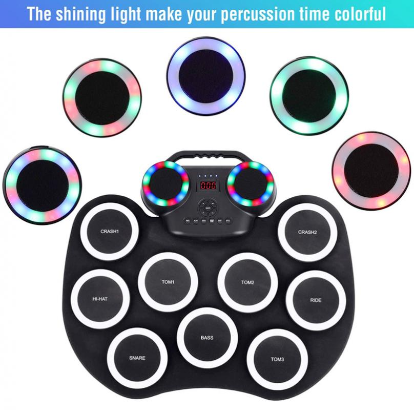 Roll Up Electronic Drum Set 9 Silicon Pads Built-in Speakers Support Bluetooth-compatible with Built-in Lithium Battery enlarge