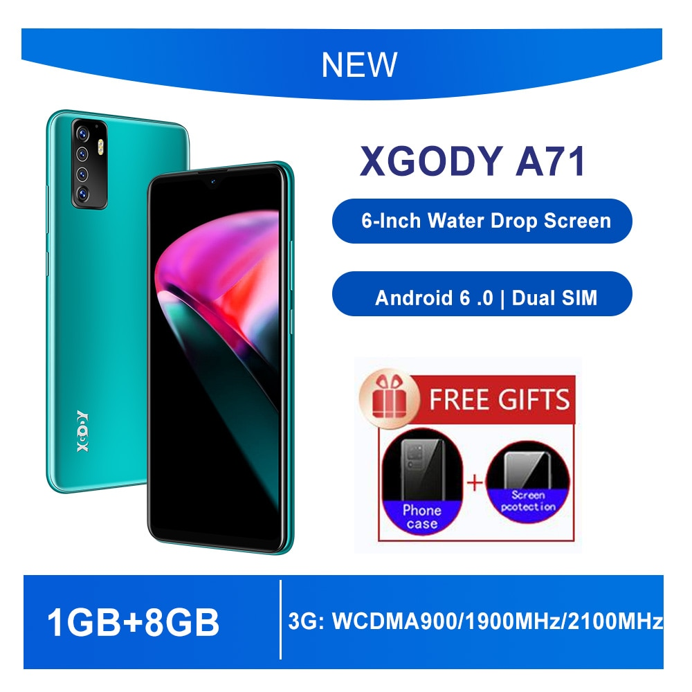 Cell Phone XGODY 3G Smartphone 1GB RAM 8GB ROM 6'' screen new Mobile Phone Android 6 .0 Quad Core 2200 battery GPS cellular