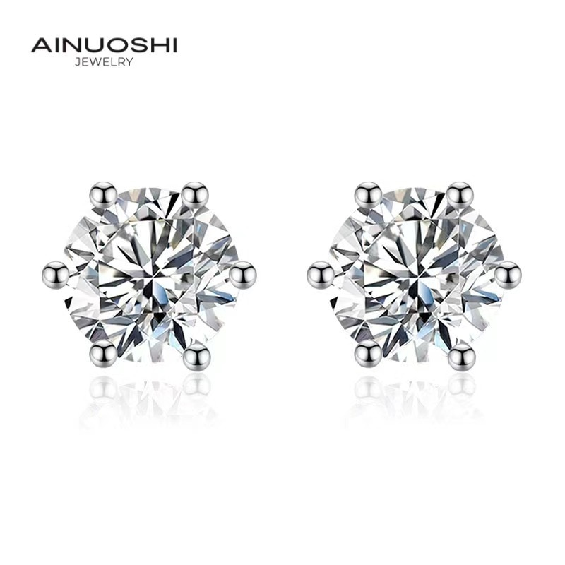 AINUOSHI Round Cut 1 Carat SONA Diamond Six Claws Simple Stud Earrings For Women Copper Gilded Exquisite  Jewelry Gift