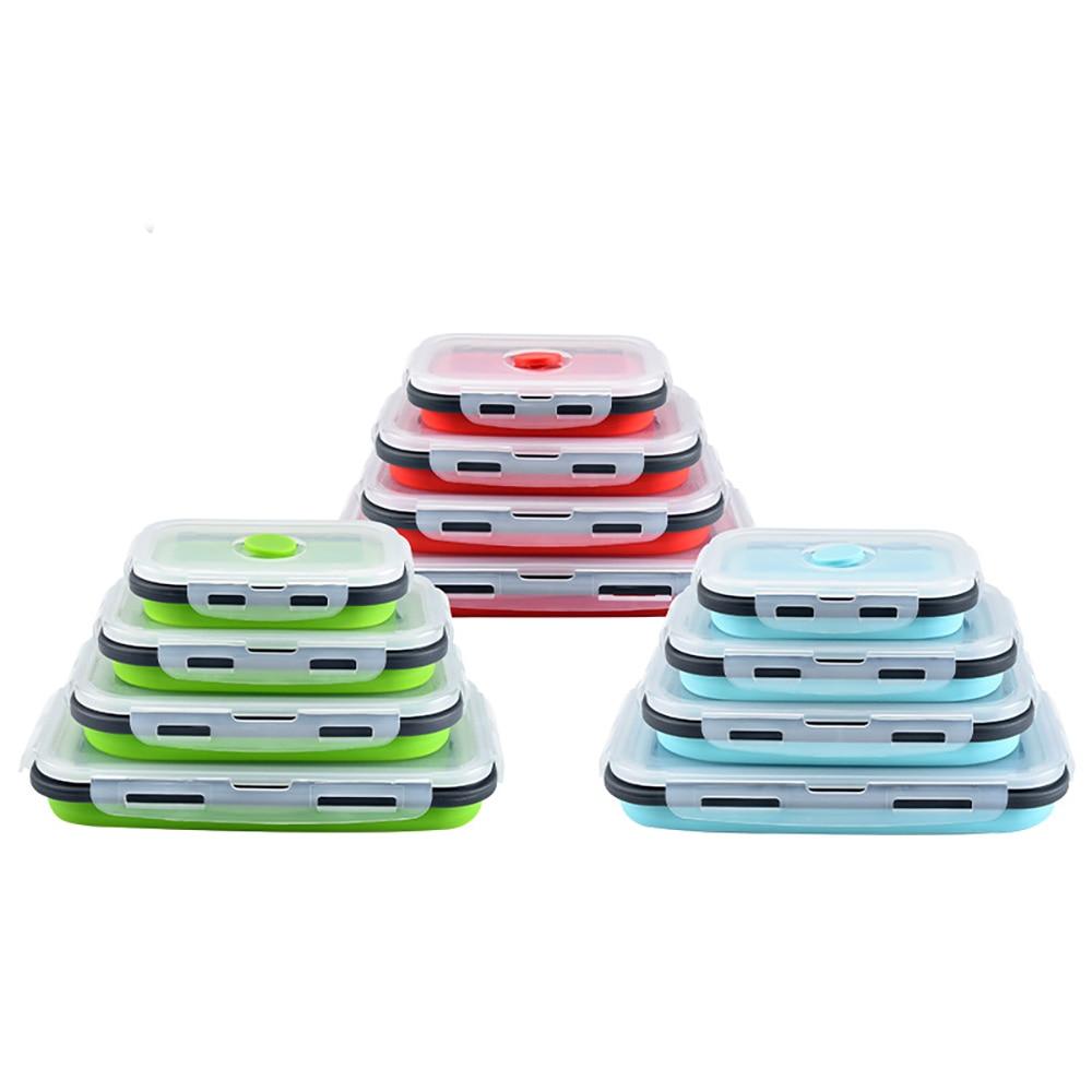 4 قطعة BPA الحرة سيليكون للطي في الهواء الطلق علب الاغذية الغذاء تخزين الحاويات صديقة للبيئة Microwavable المحمولة نزهة التخييم