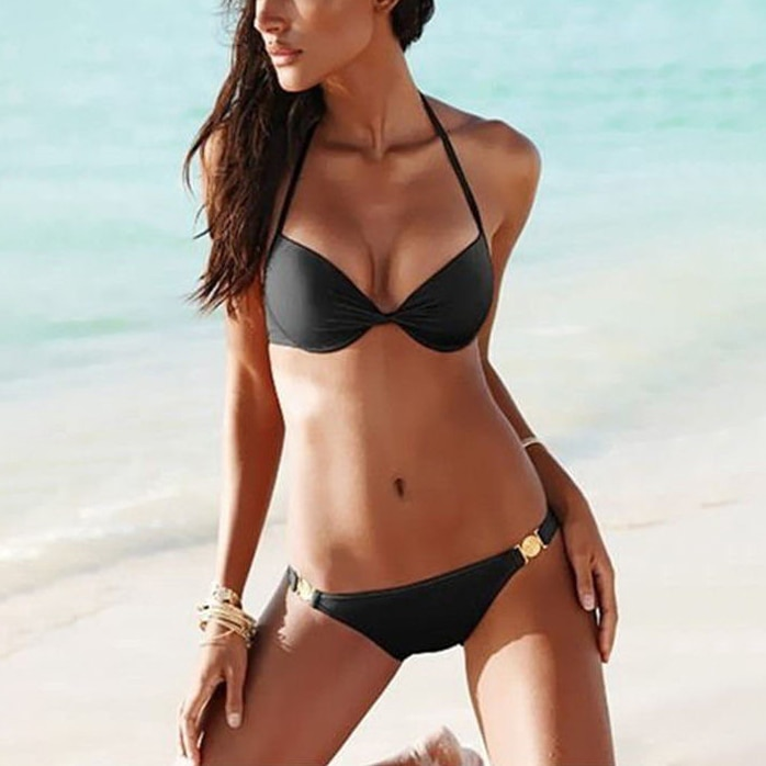 Swinsuit Women 2020 Summer Sexy Cover Up Black Underwire Push Up Halter Bra Brief Panty Beach Swinsuits Sets 2020 Bathing Suit