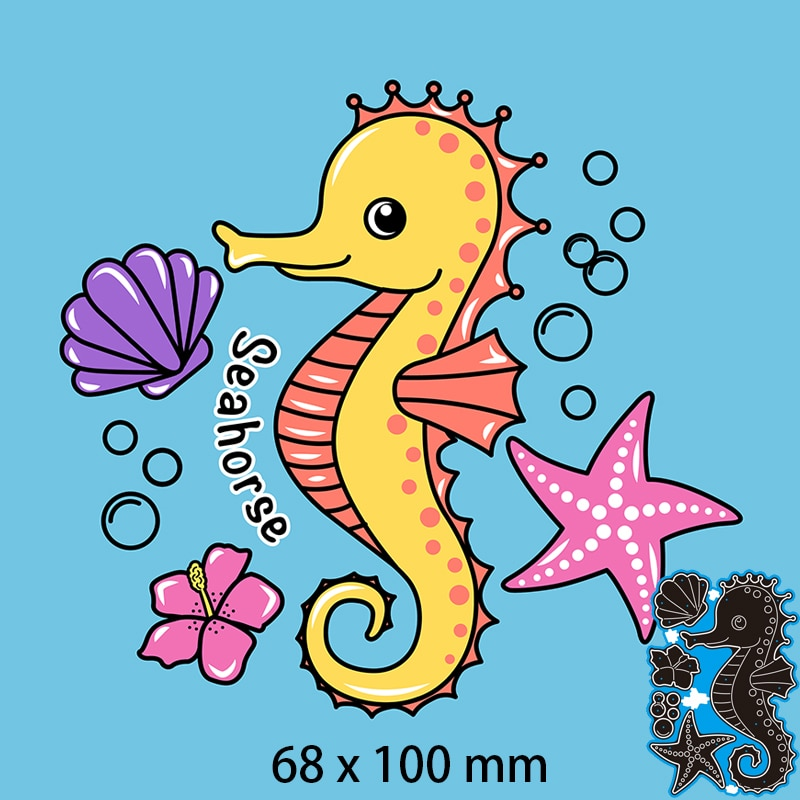 68*100mm SEAHORSE, FLOWER AND STAR OF THE SEA Cutting Dies DIY Scrap Booking Photo Album Embossing Paper Cards