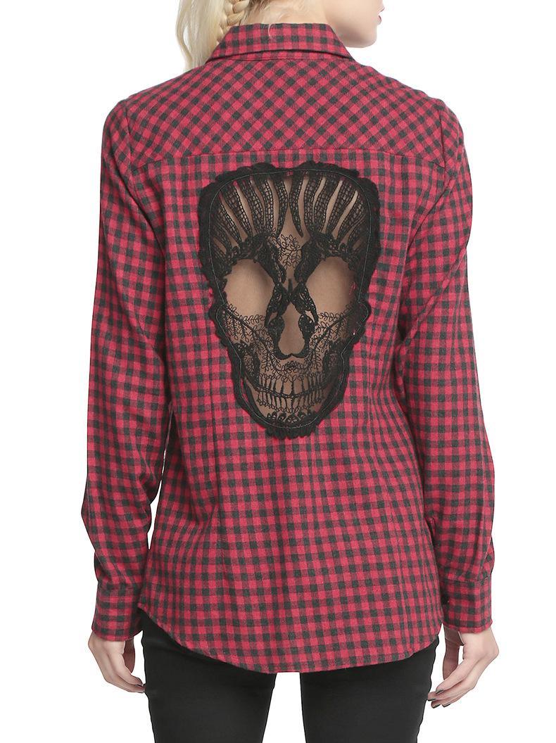 Skull Hollow Out Women Blouses Plaid Shirts Long Sleeve Blouse Spring Summer Blusas Mujer Haut Ete Plus Size XXXXL