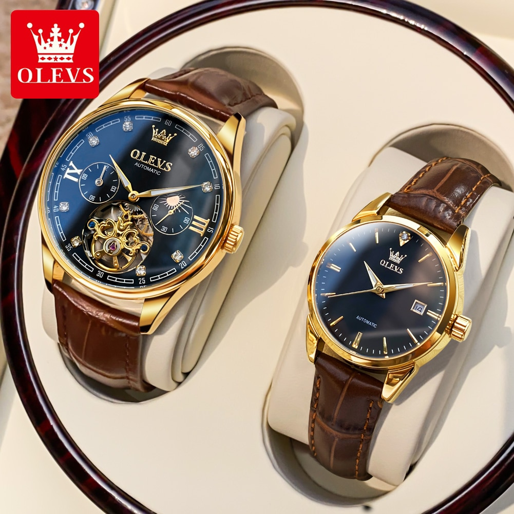 Couple Watch Man Woman Automatic Mechanical Watches Luxury Brand Leather Lover Watches Paired Watch