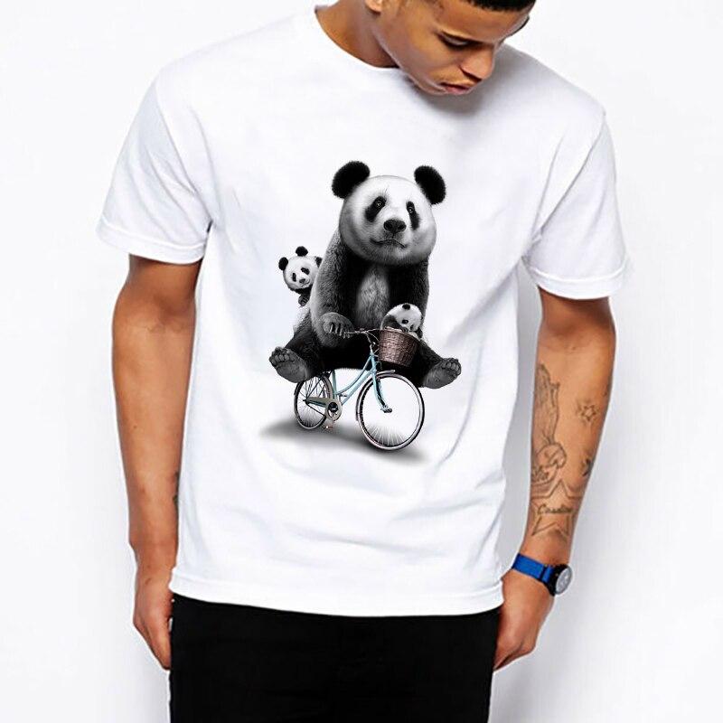 Familia de osos Panda ciclismo camiseta hombres mujeres camiseta arte diseño Vintage dibujos animados Tops Fitness Tee verano Streetwear Dropshipping
