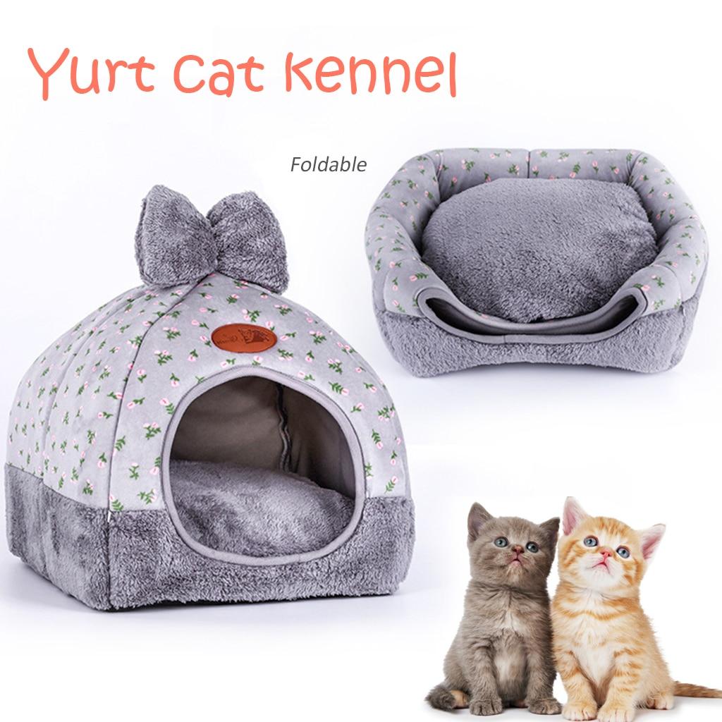 Cama plegable de gato para mascotas auto calentamiento para gatos de interior Casa de cueva cálida para perros con colchón extraíble jaula para cachorros tumbona S/M/L