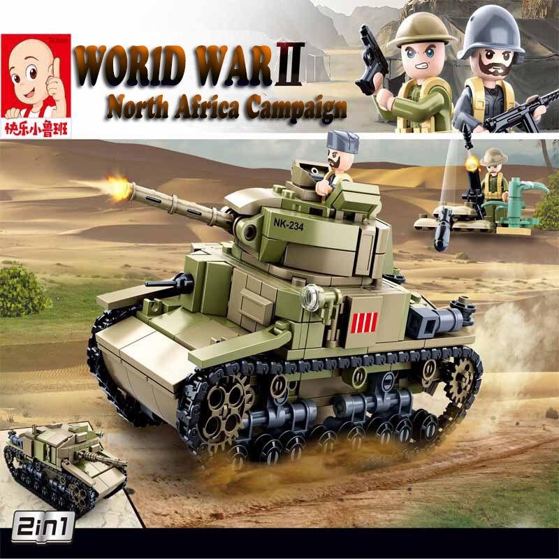 Sluban 463Pcs WW2 2 In 1 M13/40 Medium Tank Building Blocks WW2 Military Car Model Toys As  Gift For Boys