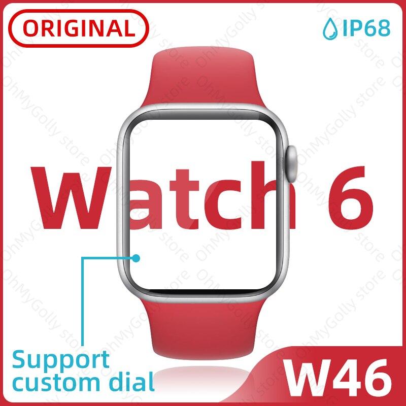 Relógio inteligente w46 relógio 6 relógios masculinos smartwatch ecg freqüência cardíaca reloj pk haylou amazfit gts iwo w26 x6 x7 p8 t500 t600 ls02 oppo