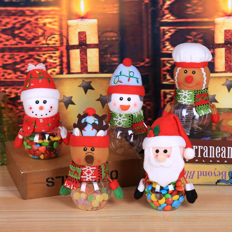 Christmas Ornaments Candy Jar Gift Bags Storage Bottle Santa Image Jar For Home Decoration Holiday P