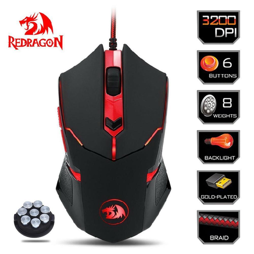 Redragon M601 CENTROPHORUS-3200 DPI ratón de juego para PC 6 botones de ajuste de peso 6,11