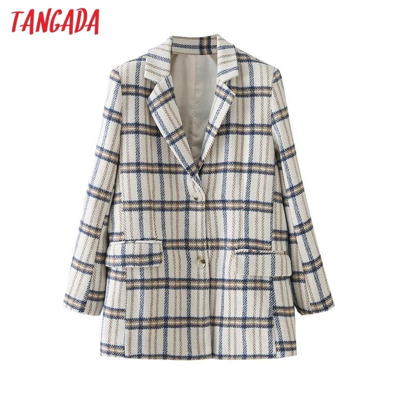 سترة نسائي Tangada كلاسيكية منقوشة من الصوف بأكمام طويلة جاكيت أنيق للسيدات بدلة سميكة دافئة DA120