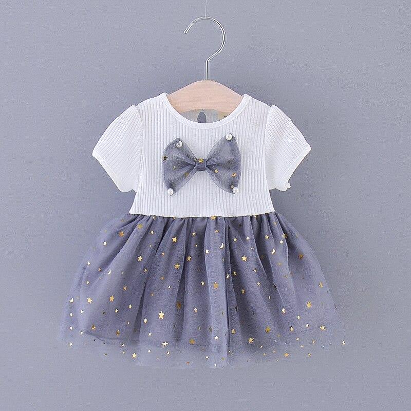 Summer Girls Dress Children New  Sophisticated Star Moon Gauze Large Bow Short Sleeve Children Dress kids baby girl cloths