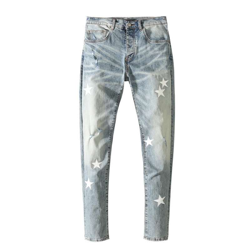 American Famous High Street Brand AMR While Star Patch Ripped Jeans Distressed Pants Streetwear Men Trousers Pants for Men