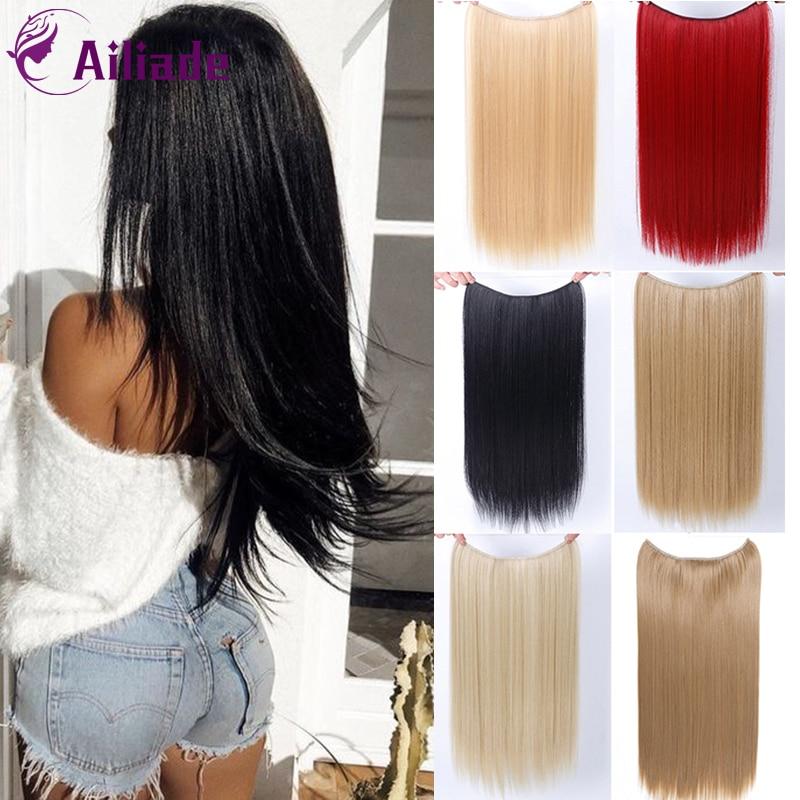 "AILIADE alta temperatura fibra sintética Hairp 24 ""Mujeres línea de pescado extensiones de cabello recto/ondulado rizado largo peluca accesorios para el cabello"