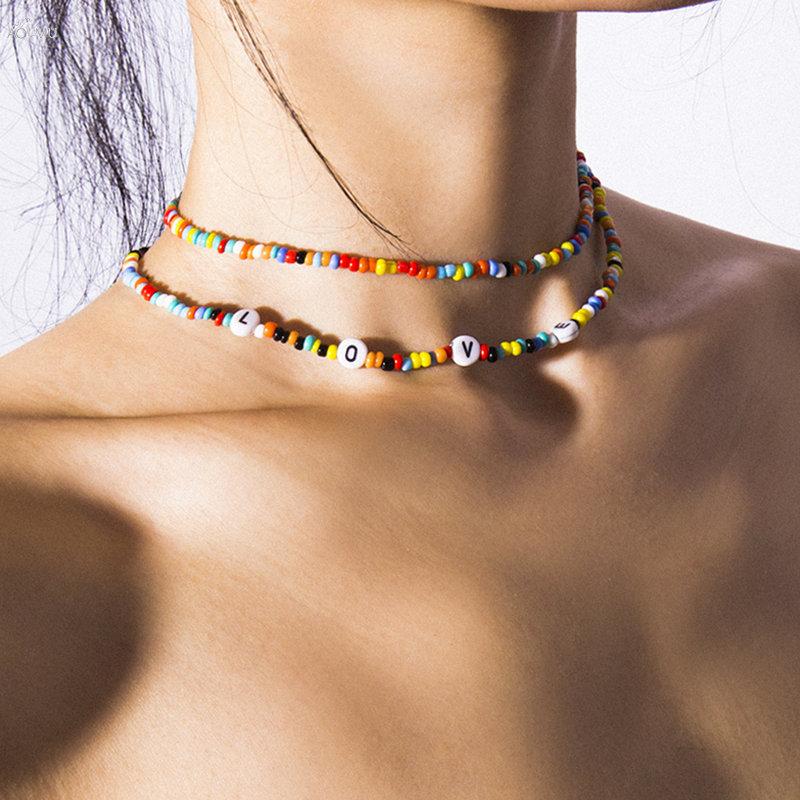 AOMU Simple geométrico hecho a mano cuentas doble capa collar carta amor Collar para mujeres moda Boho joyería