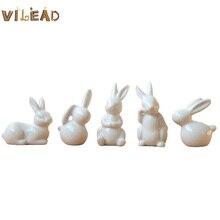 VILEAD blanc céramique lapin Mini mignon minimaliste maison bureau magasin salon chambre bureau Animal décoration cadeau pour enfants