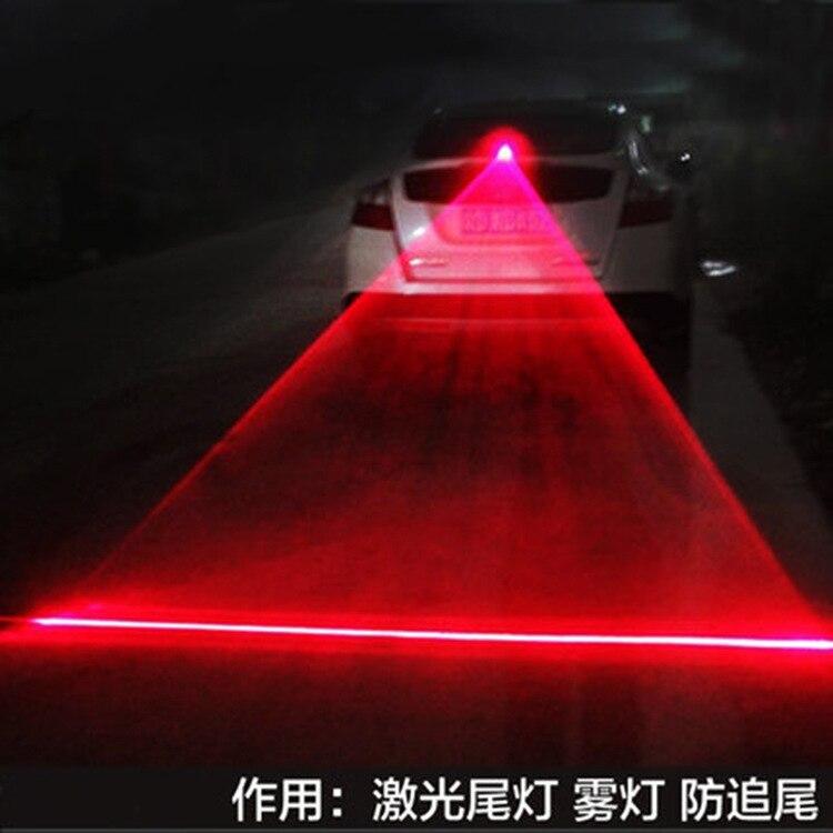 Coche niebla auto luz trasera luz de advertencia de seguridad niebla lámpara luz laser para coches anti-trasera línea recta